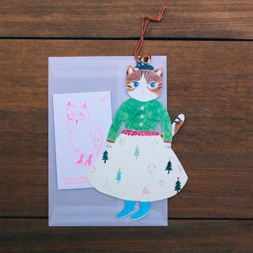 布川愛子Aiko Fukawa 裙裝猫猫插圖卡信封組